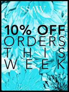10% off online orders at SSAW Store this week, ends 11.10.13. Pass on the great news!