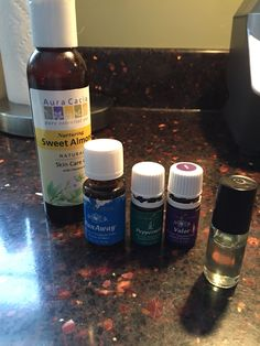 Homemade pain rollerball with Young Living Essential oils  10 drops Panaway 10 drops Valor 10 drops Peppermint Almond oil