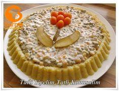Patates Yatağında Rus Salatası - Pratik Yemek Tarifleri. Gurme resimli kolay pratik Patates Yatağında Rus Salatası nasıl yapılır yapılışı yapımı hazırlanışı