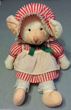 Vintage 1985 AMC Nylon Puffalump Mouse Bear stuffed animal Red White Dress Apron #AMC Red And White Dress, Apron, Xmas, Teddy Bear, Animals, Vintage, Dresses, Vestidos, Animales