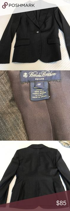 """Gorgeous Brooks Brothers Suit. Gorgeous Brooks Brothers Suit. Jacket is a 0P and pants are a 2p waist measures 14"""" across and has an 26"""" inseam with a cuff that could be let out. The suit is the softest wool and the lining is 100% SILK!!! Wonderful quality just beautiful! Brooks Brothers Jackets & Coats Blazers"""