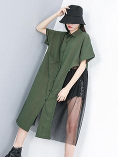 Split-joint Grenadine Long Shirt Dress – rrdeye The clothing culture is very old. Iranian Women Fashion, Korean Fashion, Womens Fashion, Cheap Fashion, Casual Dresses, Fashion Dresses, Long Shirt Dress, Long Shirt Outfits, Long Shirts