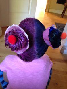 Crazy hair day at school fun kids hair cupcakes