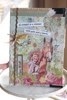 mixed media cowgirl collage- for a friend's birthday