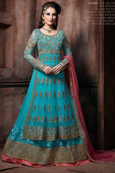 Sky Blue Net Anarkali Suit