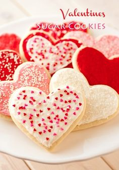 Valentines sugar cookies pink red hearts sweets cookies white dessert sugar recipes valentines day
