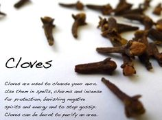 ✯ Spells and Magic: Cloves ✯ AND clove oil is an anesthetic for the gums and teeth...