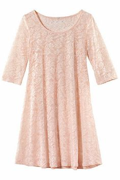 Lace Slim Pleated Pink Dress