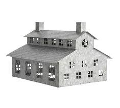 Village Houses, Bird Houses, Pottery Barn, Driving Home For Christmas, Galvanized Decor, Tin House, Farm House, Through The Window, Metal Homes