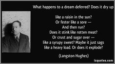 What happens to a dream deferred? Does it dry up   like a raisin in the sun?   Or fester like a sore —   And then run?   Does it stink like rotten meat?   Or crust and sugar over —   like a syrupy sweet? Maybe it just sags   like a heavy load. Or does it explode? - Langston Hughes