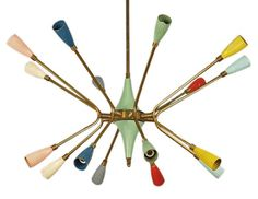 Stilnovo chandelier with muti-colored bulb cones, Italy, c. 1950's