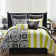 Victoria Classics Kennedy Eight-Piece King Comforter Set In Black And White - Beyond the Rack