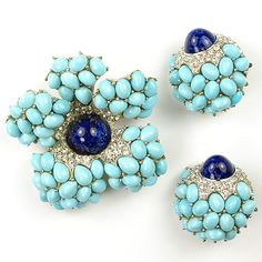 Boucher Turquoise and Lapis Flower Pin and Clip Earrings Set