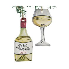 Personalized White Wine Bottle and Wine Glass Ornament (Set of 2) ($30) ❤ liked on Polyvore featuring home, home decor, holiday decorations, ceramic home decor, ceramic bottles, personalized ornaments, ceramic ornaments and personalized home decor