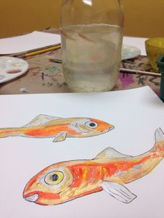 Living things art drawing and painting minnows