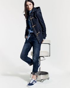 J.Crew women's duffle coat, selvedge chambray shirt, and Eastwood jean in dark otis. To preorder call 800 261 7422 or email erica@jcrew.com.Tags: barefoot style, blazer, elegance, footwear, girl, ivy league, jacket,  jeans, no socks, preppy, running shoe, shirt, smart casual, sockless, sport, suit, without socks