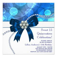 Royal Blue Teal Blue Birthday Party Custom Invites