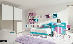 Kids Room, Awesome girls bedroom with purple and blue furniture colors: Beautiful Kids Room Designs by ColombiniCasa
