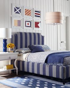 #nautical #bedroom ★★★ Blue and white stripes - nautical flags on white pannelled wall.