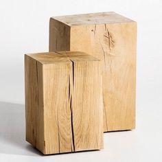 petit banc ou petite table faite d'un bout de tronc d'arbre