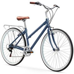 """sixthreezero Explore Your Range Women's 7-Speed Hybrid Commuter Bicycle, Navy, 17"""" / One Size"""