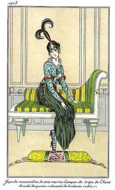 PetitPoulailler 1913 Vintage Fashion Lithograph From Journal des Dames et des Modes, Unknown Designer, Pl 75