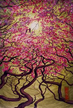 Sakura Print featuring the painting Sakura by Vrindavan Das