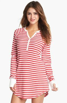 PJ Salvage Brushed Thermal Sleep Shirt available at #Nordstrom - Size Medium