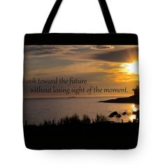 """Present Reminder Tote Bag (18"""" x 18"""") by Sand And Chi  .  The tote bag is machine washable, available in three different sizes, and includes a black strap for easy carrying on your shoulder.  All totes are available for worldwide shipping and include a money-back guarantee."""