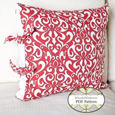 Classy Side Tie Pillow Case,  PDF Sewing Pattern  by BLISSFULpatterns, $6.00