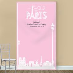 Our Paris Silhouette Personalized Photo Booth Backdrop will instantly take you and your wedding guests to the romantic streets of the City of Lights. Paris Bridal Shower, Banner Stands, Photo Booth Backdrop, City Lights, Craft Stores, Backdrops, Romantic, Silhouette, Photo Editing