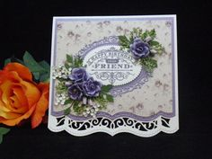 """This card is roughly x the flowers are all handmade from Sizzix """"Susans Gardens"""" Hibiscus die and Cheery Lynn dies. The border die is from Spellbinders and the sentiment is from Justrite. Card Creator, Spellbinders Cards, Marianne Design, Heartfelt Creations, Color Rosa, Pretty Cards, Paper Cards, Flower Cards, Scrapbook Cards"""