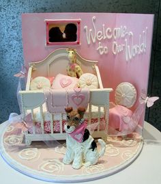 "Hermoso pastel para baby shower, ""Welcome to our world"" de Rosebud Cakes, vía Flickr."