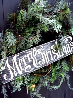 Merry Christmas Sign & Wreath