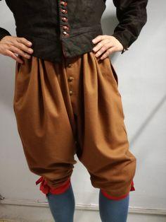 Pantalón veneciano Maurits of Nassau confeccionado paño de lana color marrón, para recreación histórica del siglo XVII