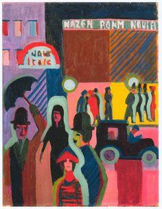 aestheticlust:  Ernst Ludwig Kirchner:  Store in the Rain (1926-27)