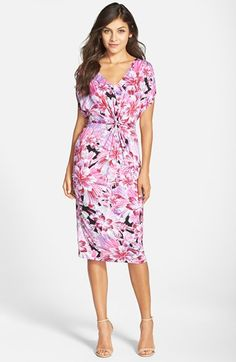 Free shipping and returns on Fraiche by J Shirred Print Midi Dress at Nordstrom.com. An artfully shirred midsection creates an exquisite silhouette for a jersey-knit day-to-night dress featuring a V-neck bodice with fluttery cap sleeves and a body-con midi skirt. A gorgeous floral print completes the ultrafemme style.