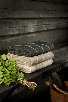 Sauna and finnish linnen towels. More you use them better they are.