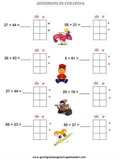 Schede didattiche di matematica addizioni in colonna Primary School, Diagram, Coding, Math, Google, Math Activities, Geography, Alphabet, Autism