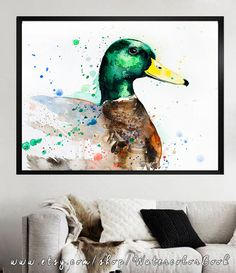 Mallard Duck watercolor painting print Mallard Duck by SlaviART