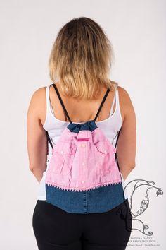 Beutelrucksack Pink Shirt Upcycling von NiikaFashiondesign auf Etsy