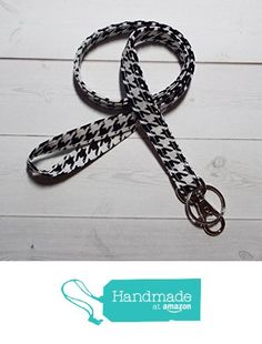 Skinny black houndstooth fabric lanyard / keychain / key chain - teachers, nurses, students from In His Name Boutique https://www.amazon.com/dp/B01N38J09J/ref=hnd_sw_r_pi_dp_oz5Kyb5Z29W4X #handmadeatamazon