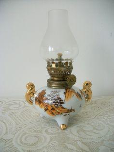 Miniature Ceramic Hurricane  Oil Lamp