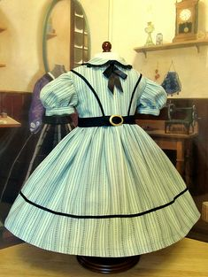 Robin's Egg Blue Civil War Gown Made to Fit American Girl Doll Addy