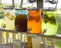 Pottery Barn Acrylic Drink Dispenser - Great for a big party on the beach one day :) Lets see: Vodka w Lemonade, Long Island Iced Tea, Tequila Sunrise, and Mojito. Now that's a summer bar! Cocktails Bar, Bar Drinks, Yummy Drinks, Drink Bar, Drink Stand, Refreshing Drinks, Beverage Bars, Alcoholic Drinks, Beverage Table
