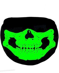 Skull Glow in the Dark/Blacklight Reactive Black Surgical Mask Edm Festival, Superhero Logos, The Darkest, Glow, Skull, Final Sale, Face, Wonderland, Masks