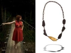 Skipping Stones necklace by Michelle Pajak-Reynolds,     Collection: Water's Edge    Materials: 24k gold leaf, Lake Erie driftwood, antique sequins, silk    Model: Carmel Clavin    Photographer: Pat Jarrett (left), Steven Brian Samuels (right)