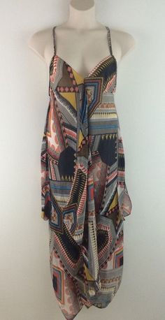 NWT 1x ASOS CURVE Multi Color Geometric Tribal Print Beach Dress 16 #ASOS #AsymmetricalHem #SummerBeach