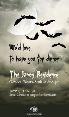 Make an invite with a moody ambiance using PicMonkey's textures along with moon and bat overlays.