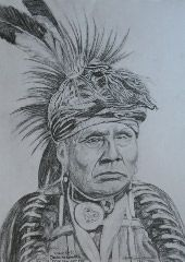 My pencil drawing of Native American Indian Chief Arkekeetah one of my relatives. Print of various sizes available on ebay.